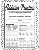 Addition Practice Singapore Methods up to Thousands Place