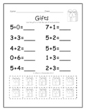 Addition Problems with Manipulatives (December) (sums to 1