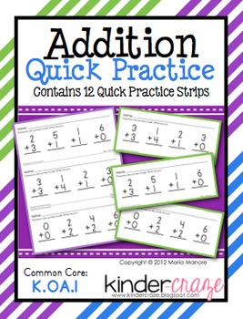 Addition Quick Practice Pages: Sums 0-12