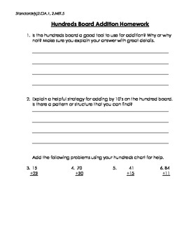 Addition Word Problems Using Hundred Chart (CCSS aligned)