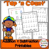 "Addition and Subtraction Camping Worksheets with ""Tap 'n C"