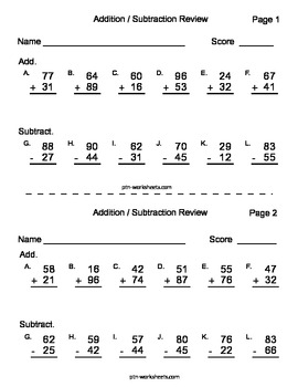 Addition and Subtraction Double Digit Review Pages - 5 pag