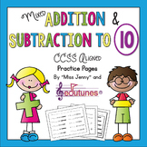 Addition and Subtraction to 10: 35 Practice Pages / Common