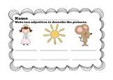 Adjectives homework/worksheet pack