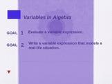 Alg 1.1 Variables in Algebra