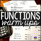 Functions: warm ups & quiz {domain, range, max, min, inc.,