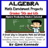 Algebra Differentiated Project Menu w/Vocabulary