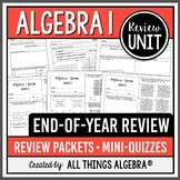 Algebra 1: End of Year Review Packets + Quizzes!