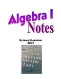 Algebra I Notes/Overheads