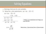 Algebra II Expressions & Solving Equations