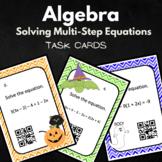 Halloween Algebra Solving Multi Step Equations Task Cards