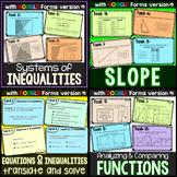 Algebra Task Cards Bundle {functions, slope, systems, tran