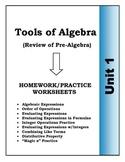 Algebra: Unit 1 - Tools of Algebra, Homework Worksheets Bundle