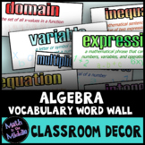 Algebra Vocabulary Word Wall