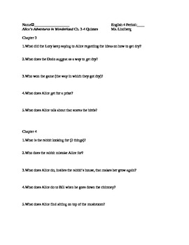 Alice's Adventures in Wonderland Ch. 3&4  Quiz/Reading Che