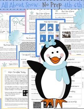 Snow Days!! All About Snow-4th, 5th, 6th Grades- No Prep