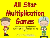 All-Star Multiplication Games- Facts from 2x1 up to 12 x 12
