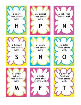 Alphabet Categories Naming Task- speech