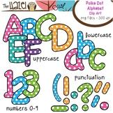 Alphabet Clip Art: Trendy Polka Dot Print - Uppercase, Low