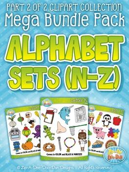 Alphabet Letters N-Z Clipart Mega Bundle Pack — Includes 260 Graphics!