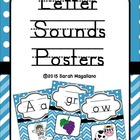 Alphabet and Phonics Letter Sounds Posters: Blue Chevron a