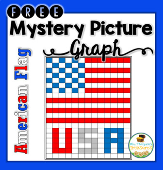 American Flag USA Mystery Picture Graphing Activity