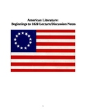 American Literature: Beginnings to 1820 (Discussion Points)