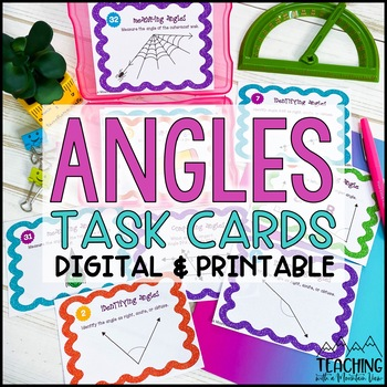 Angles Task Cards Common Core { Identify , Draw , Measure & More }