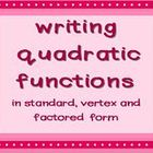 Quadratic Functions - writing in 3 forms using a graphic o