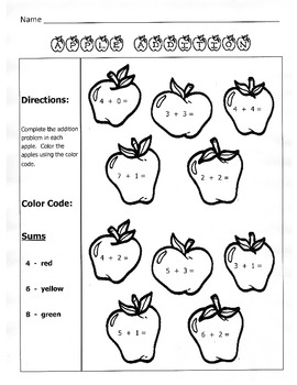Apple Addition / Fall Math Worksheet  / 1st Grade