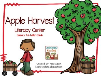 Apple Harvest Literacy Center Sensory Tub Letter Cards