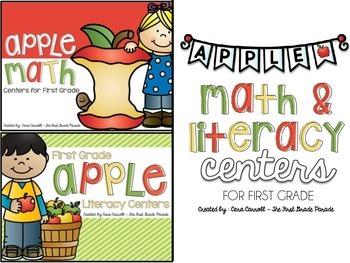 Apple Math & Literacy Centers for 1st Grade (BUNDLED)