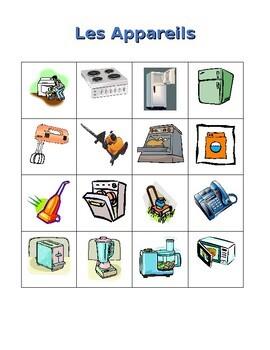 Appliances in French Bingo game
