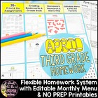 April Homework Menu Pack-Editable & Differentiated for Eve