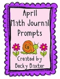 April Math Journal Prompts- Kindergarten Common Core