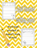 April work on writing paper with word box