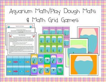 Aquarium Math/Playdough Mats and Math Grid Games for Preschool and Kindergarten Image