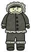 Arctic Antarctic Habitat Doodles digital clip art (BW and