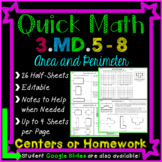 Area and Perimeter Homework: 3rd Grade 3.MD.5 - 3.MD.8