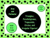 Area & Perimeter: Triangle, Parallelogram, Trapezoid, Circ