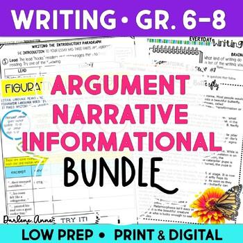 Argumentative, Narrative, and Informational Writing Workshop Bundle {CCSS}