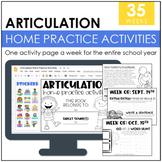 Articulation Homework Packet: 2015-2016 School Year