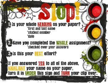 Assignment Turn-in Procedure Sign/Poster