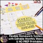 August Homework 3rd Grade{Homework Menu & Printables}Edita