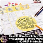 August Homework Menu Mini Printable Pack-Editable & Differ