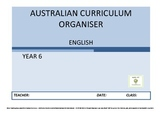 Australian Curriculum Organiser English (editable) - Y6  F