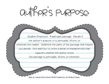 Author's Purpose - Practice Passages