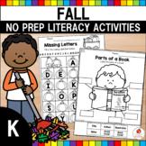 Autumn Kindergarten Language Arts Worksheets