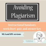 Plagiarism Handout and Worksheet