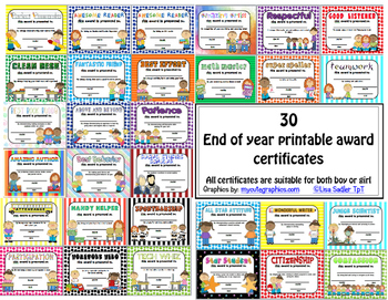 Awards - Printable Certificates for End of Year Recognition - Bundle 1